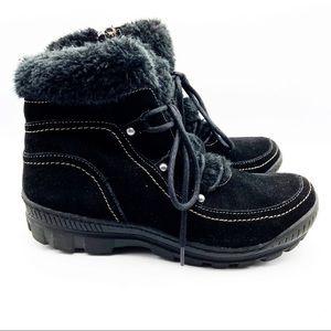 BareTraps Deelya Black Suede Lace Up Lined Boots